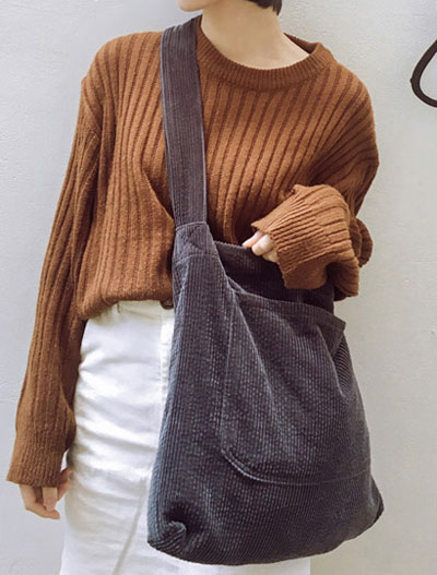Solid color corduroy shoulder bag