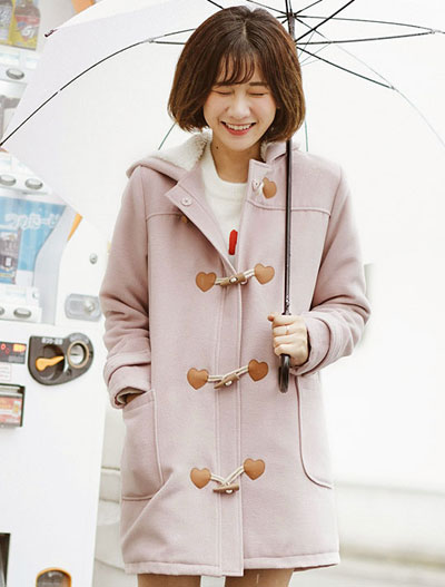 Faux-shearling lining hooded heart embellished long coat