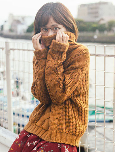 Turtleneck cable-knit sweater