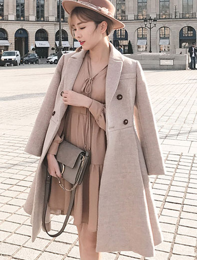 Double-breasted wool blend long coat