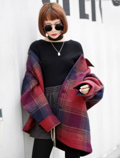 Checked pocket wool blend coat