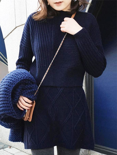 Solid color ribbed-knit sweater+knit mini skirt set
