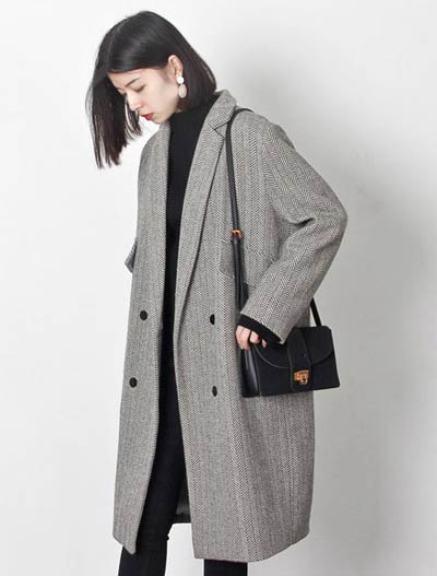 Double-breasted striped wool blend coat