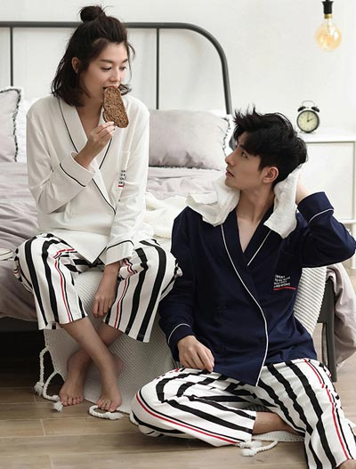 Belted letter printed striped cotton pyjama set