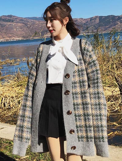 Checked oversized long cardigan