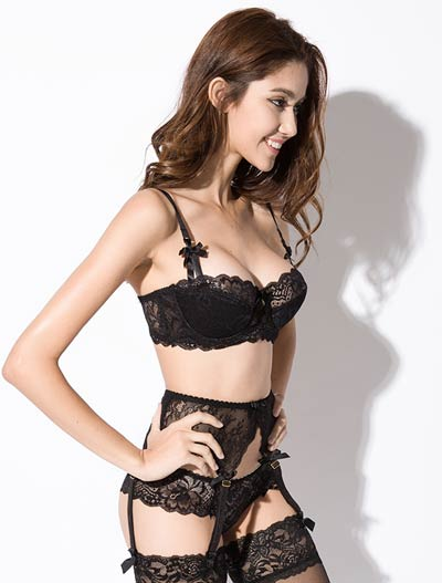 Lace bowknot stretch-lace padded underwired bra+briefs set