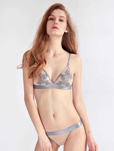 Embroidered lace stretch-jersey triangle bralette + briefs set