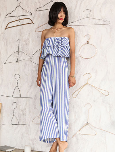 Strapless striped wide-leg beach jumpsuit