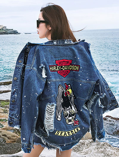 Applique bird distressed denim jacket