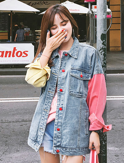Color block paneled denim jacket