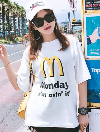 Letter printed cotton blend T-shirt