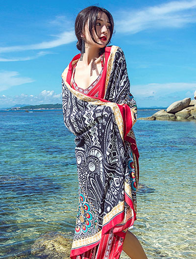 Flower feather printed tassel scarf