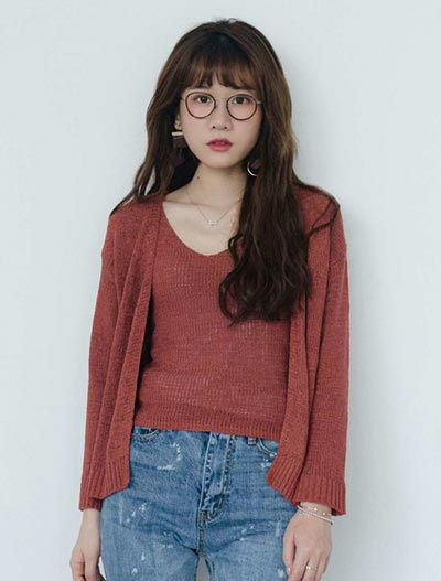 Solid color cardigan+knit camisole set