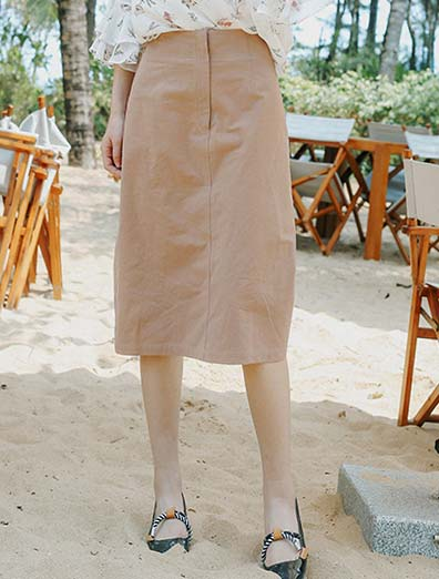 Solid color cotton midi skirt