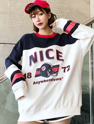 Oversized letter printed cotton blend sweatshirt