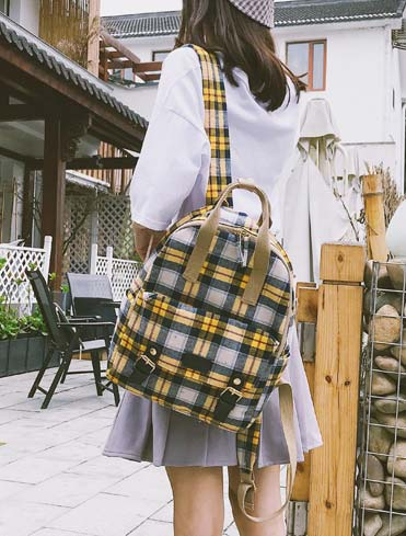 Checked canvas backpack