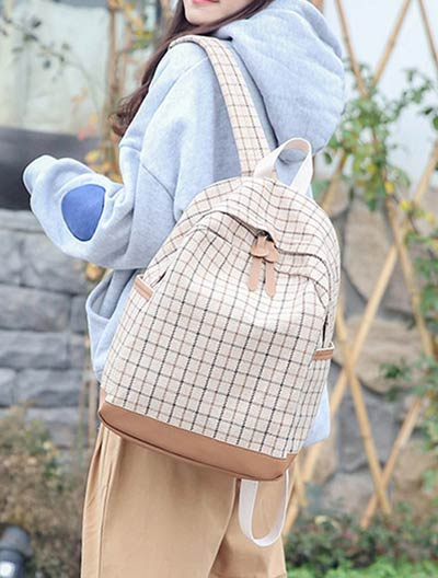 Checked paneled canvas backpack