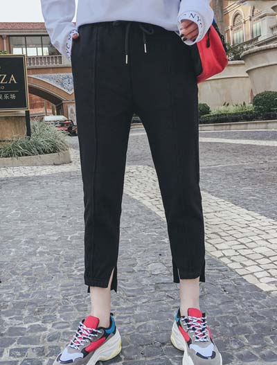 Cropped drawstring cotton trousers/pants