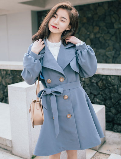 Double-breasted solid color belted buckled trench coat