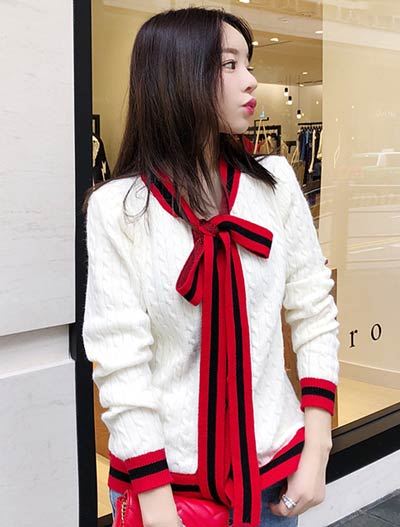 Neck-tie cable-knit cardigan