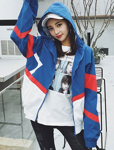 Hooded color block bomber/baseball jacket