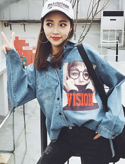 Image printed denim shirt