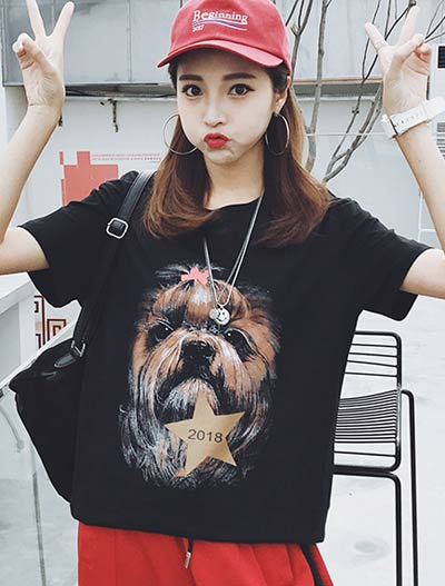 Dog printed cotton blend T-shirt