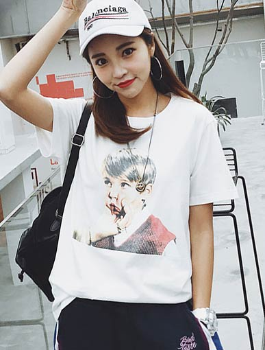 Image printed cotton blend T-shirt