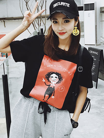 Cartoon printed cotton blend T-shirt