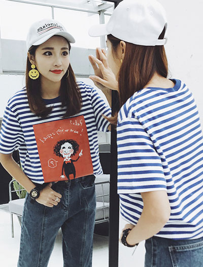 Cartoon printed striped cotton blend T-shirt