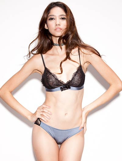 Lace bowknot soft-cup stretch-jersey triangle bralette + briefs