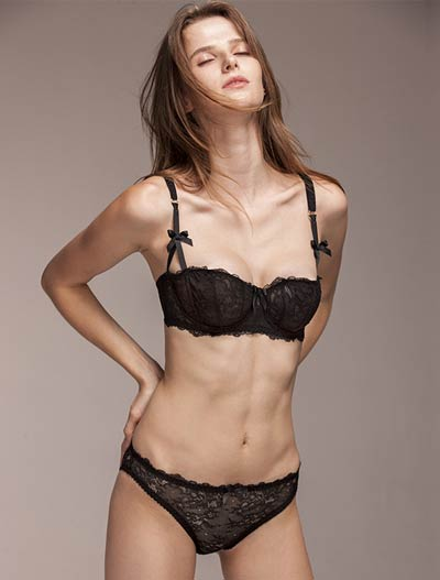 Lace bowknot stretch-lace underwired bra+briefs set
