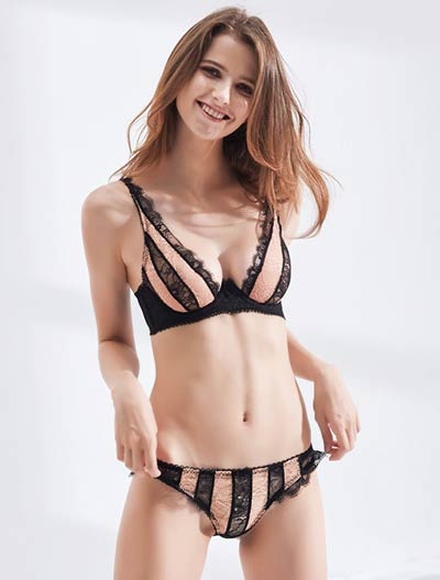 Color block lace stretch-lace underwired triangle bra+briefs set