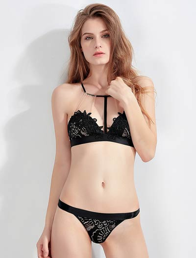 Embroidered lace mesh stretch-jersey triangle bralette + briefs