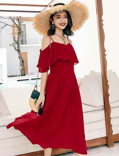Cold-shoulder solid color pleated beach midi dress