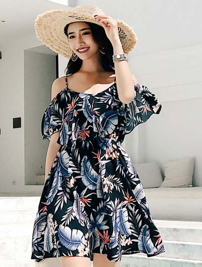 Floral printed cold-shoulder beach mini dress