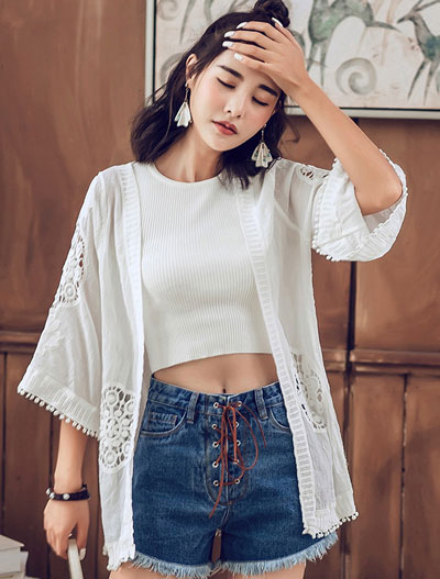 Fringed lace-paneled cotton beach outer