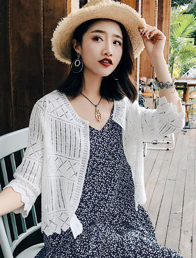 Solid color cotton knit summer outer