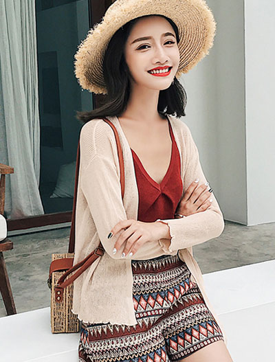Ruffled bowknot knit summer outer