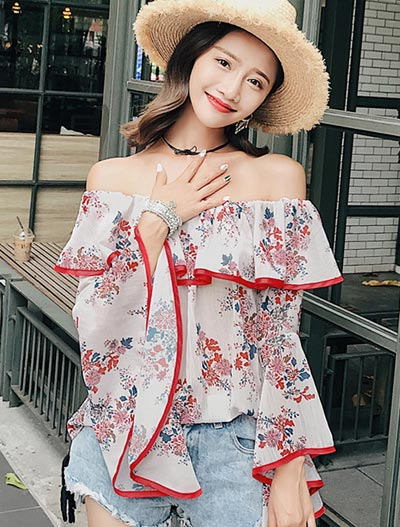 Off-the-shoulder floral printed flared cuffs chiffon top