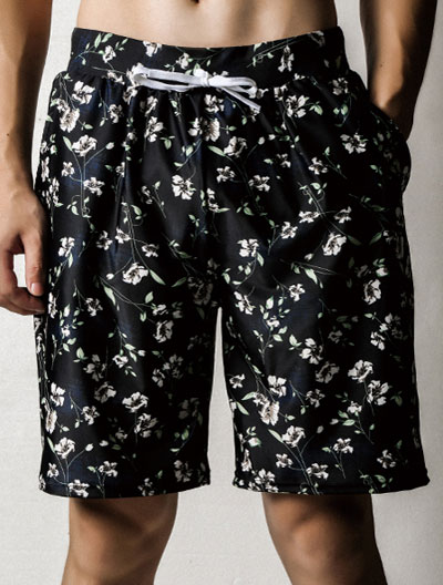 Floral printed drawstring swimming trunks
