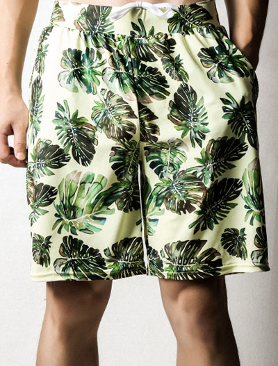 Leaves printed drawstring swimming trunks