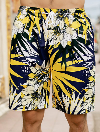 Leaf floral printed swimming trunks