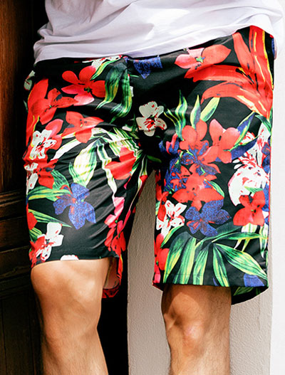 Floral printed swimming trunks