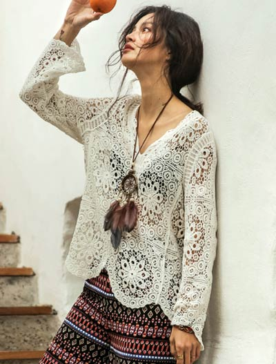 Solid color crochet cotton summer outer