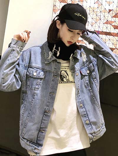 Distressed letter embroidered denim jacket