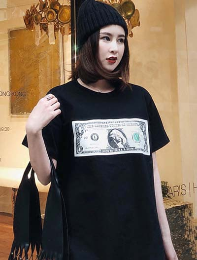 Oversized dollar printed cotton T-shirt