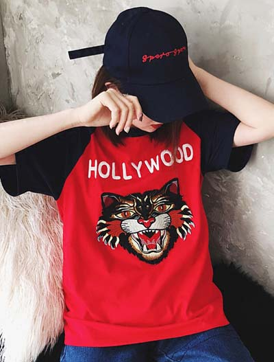 Oversized letter tiger embroidered cotton T-shirt