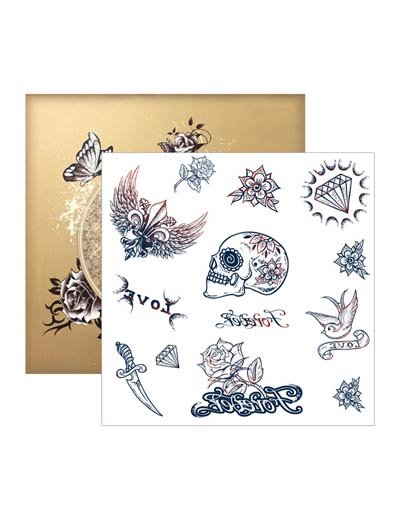Pirate temporary tattoos body art stickers - 3 pieces