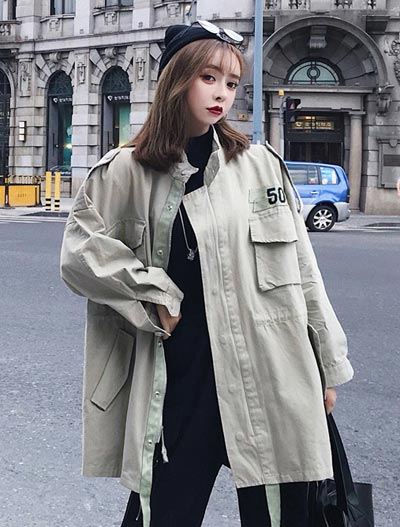Oversized drawstring cotton blend trench coat